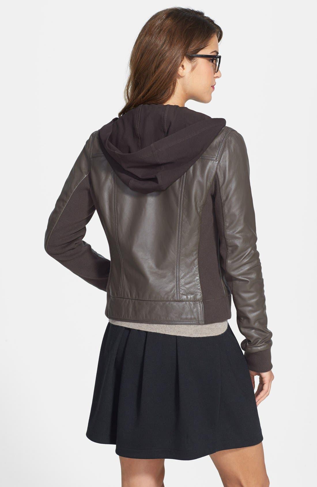 Alternate Image 2  - Caslon® Hooded Leather Jacket