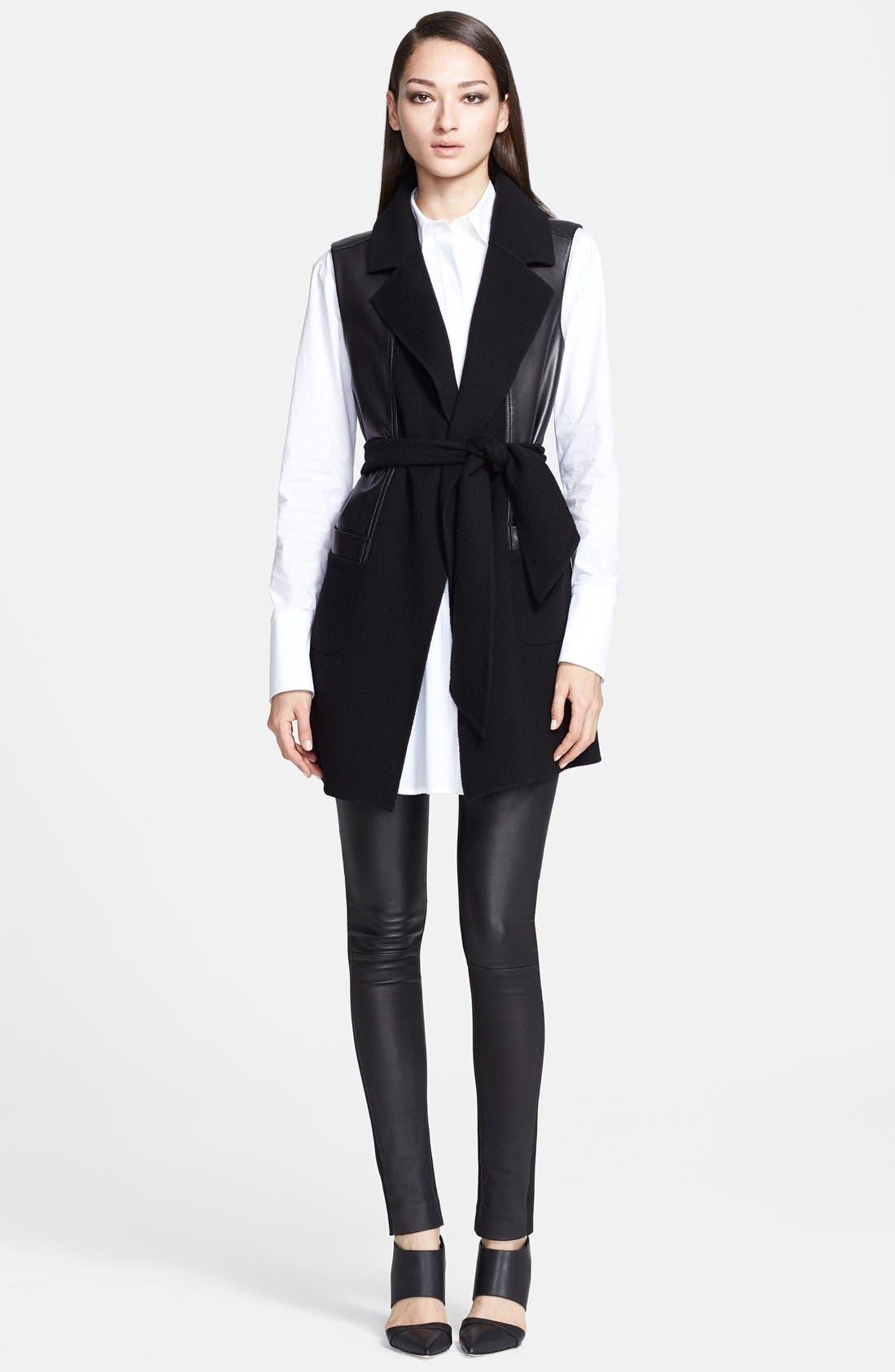 Alternate Image 3  - Donna Karan Collection Belted Leather & Cashmere Vest
