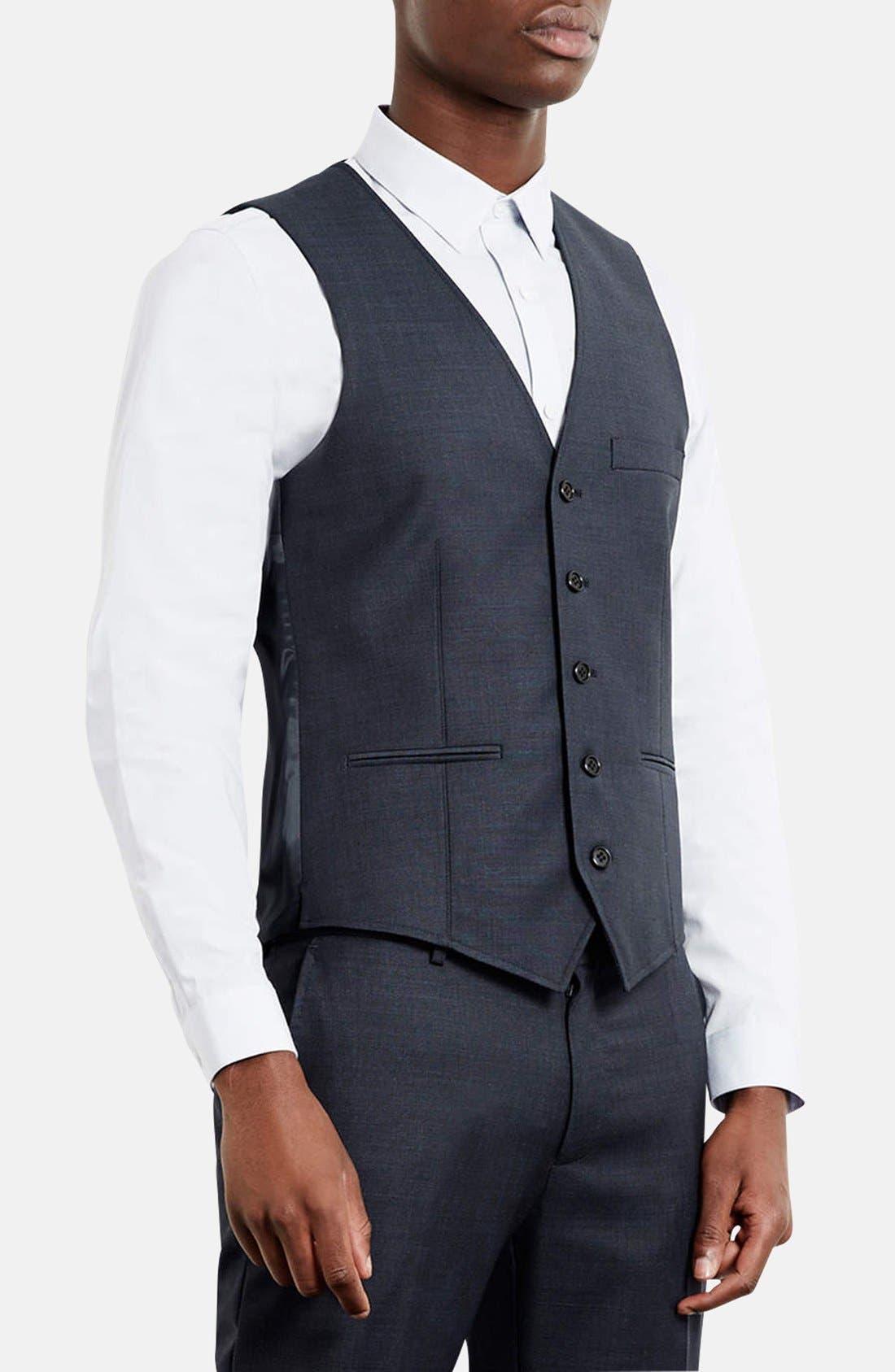 Alternate Image 1 Selected - Topman Skinny Fit Textured Wool Blend Vest