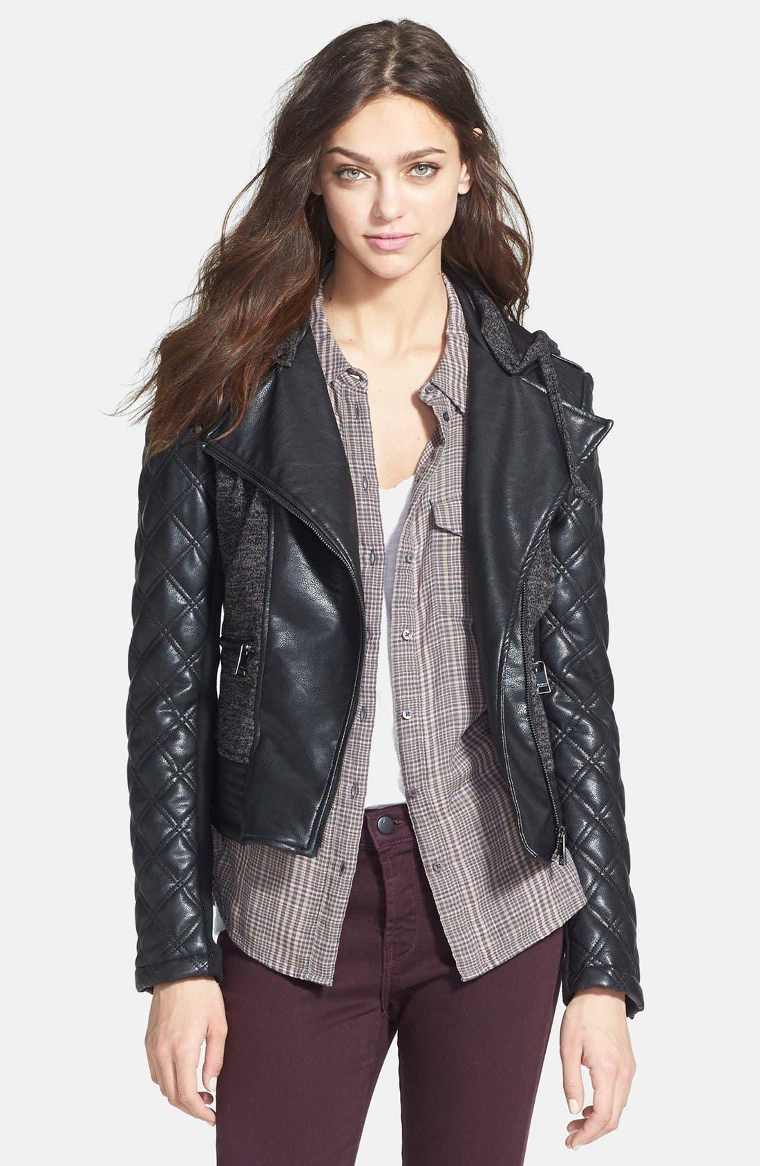 Alternate Image 3  - bebe Knit & Faux Leather Hooded Moto Jacket
