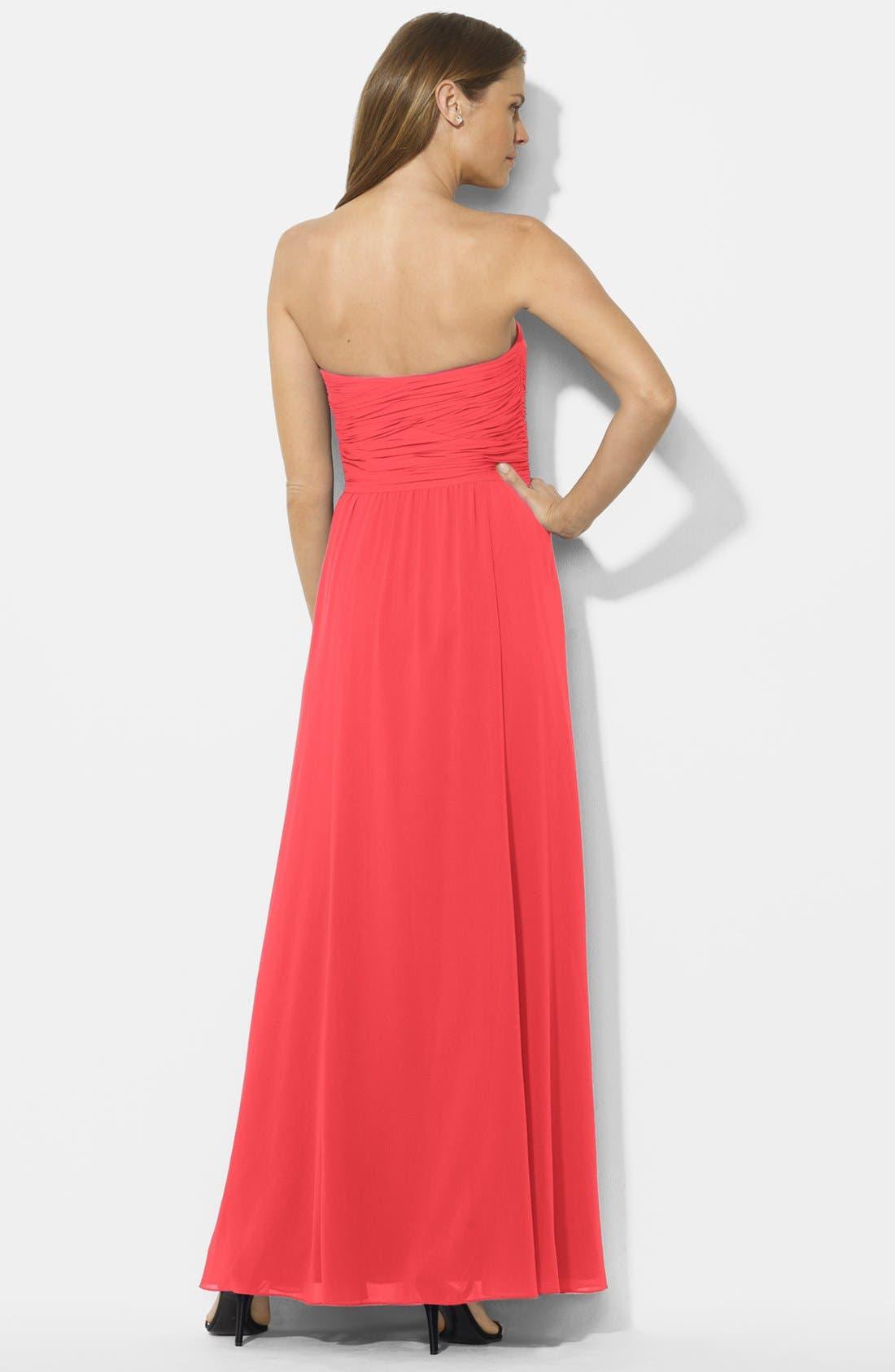 Alternate Image 2  - Lauren Ralph Lauren Crossover Bodice Georgette Gown