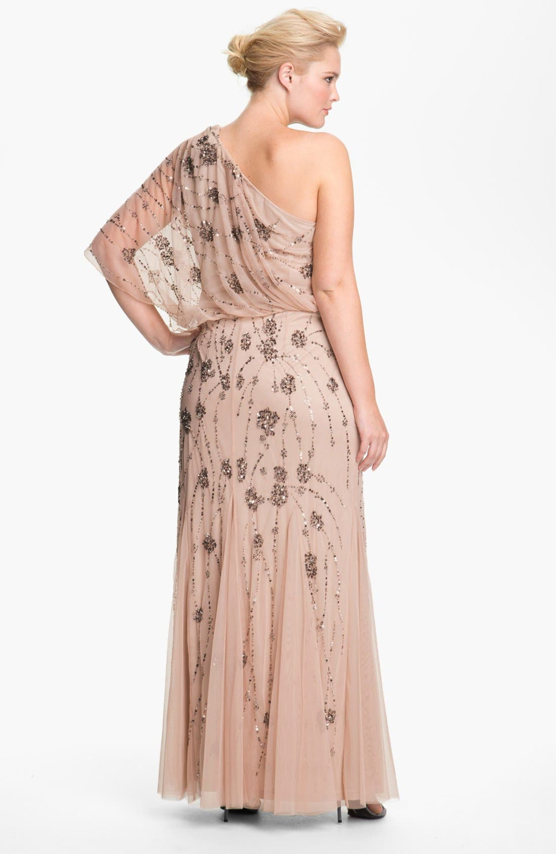 Alternate Image 2  - Adrianna Papell Beaded One Shoulder Gown (Plus Size)