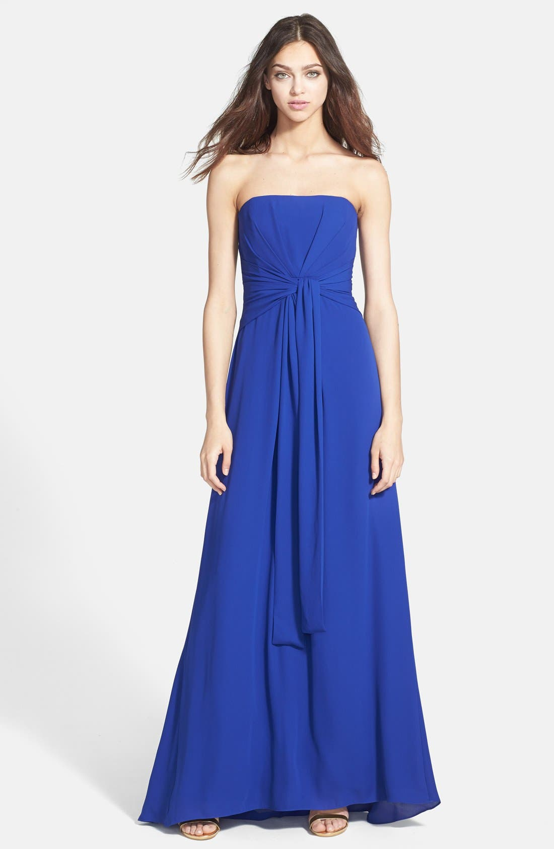 Alternate Image 1 Selected - BCBGMAXAZRIA Strapless Pleated Gown