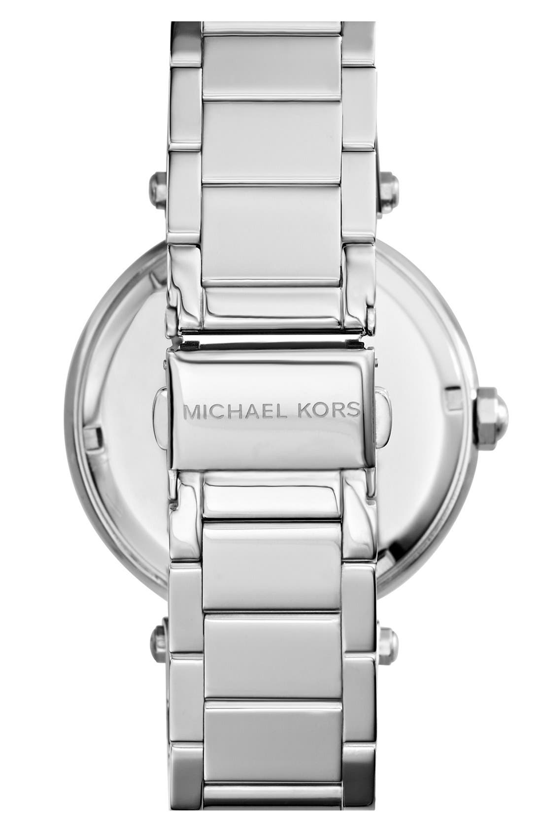 Alternate Image 2  - Michael Kors 'Parker' Pavé Logo Dial Bracelet Watch, 39mm