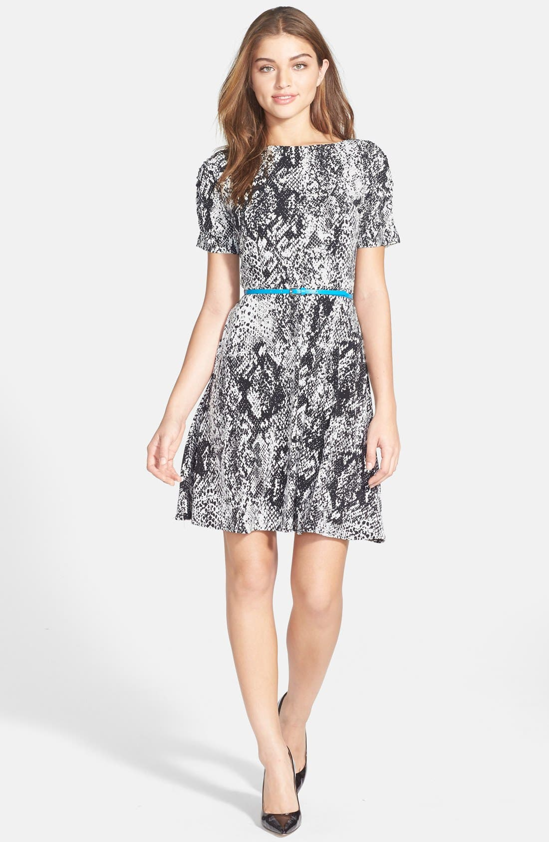 Alternate Image 3  - Donna Morgan Snakeskin Print Jersey Fit & Flare Dress