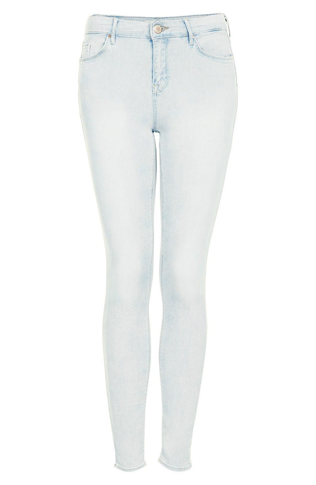 Alternate Image 3  - Topshop Moto 'Leigh' Bleach Skinny Jeans (Regular & Short) (Light Denim)
