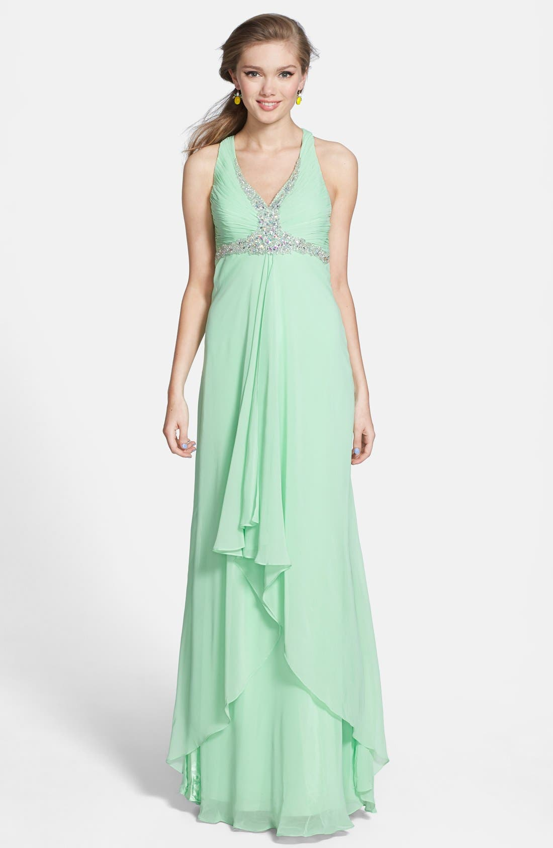 Alternate Image 1 Selected - Faviana Embellished Cross Back Chiffon Gown (Online Only)