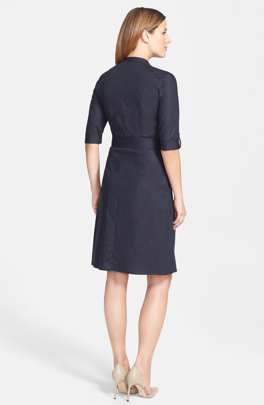 Alternate Image 2  - BOSS 'Damalen' Belted Stretch Cotton Fit & Flare Dress