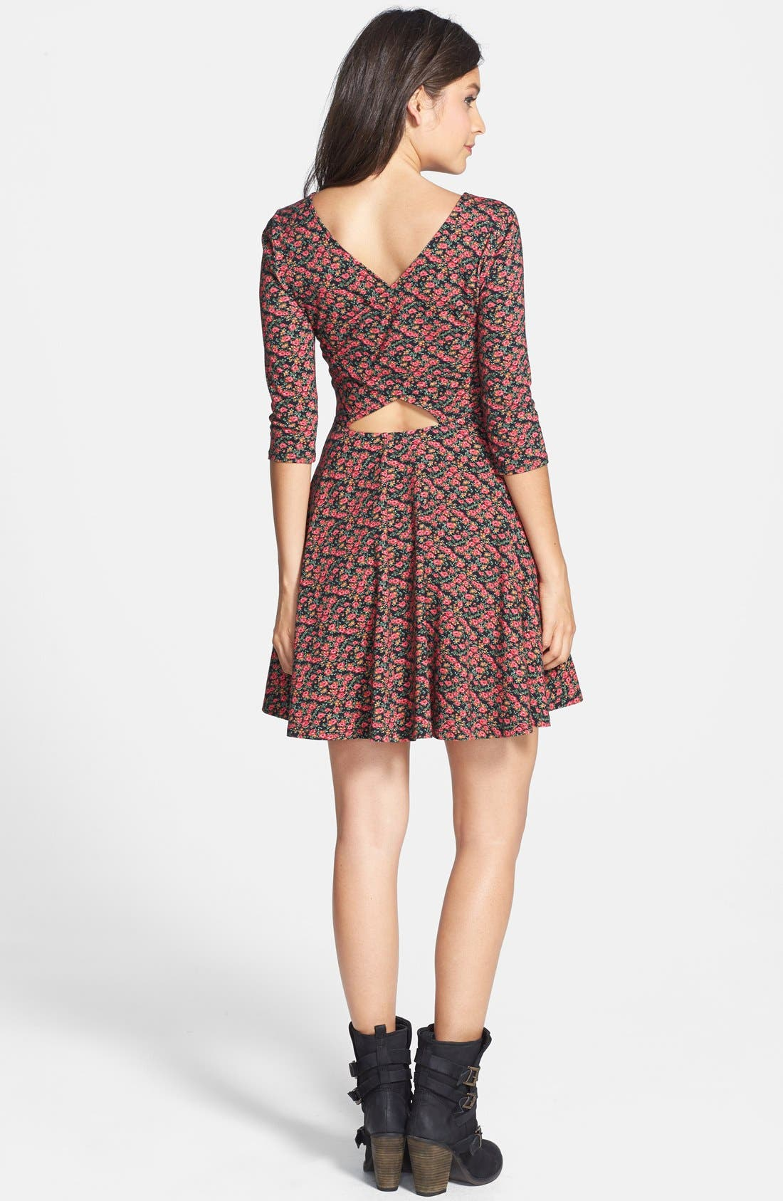 Alternate Image 2  - Lush Floral Print Knit Skater Dress (Juniors)