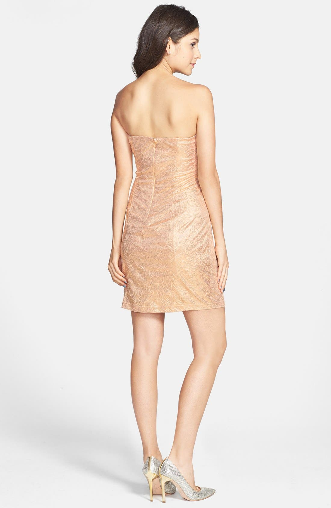 Alternate Image 2  - Hailey Logan Ruffle Metallic Tube Dress (Juniors) (Online Only)