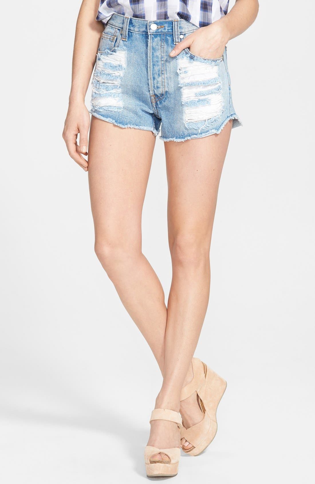 Main Image - MINKPINK 'Slasher Flick' Destroyed High Rise Shorts