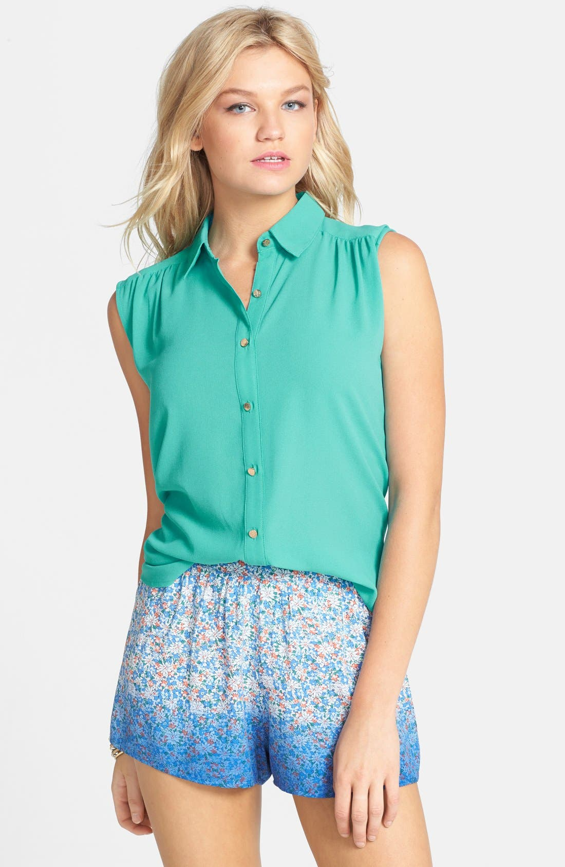 Main Image - Lush Cutout Sleeveless Shirt (Juniors)