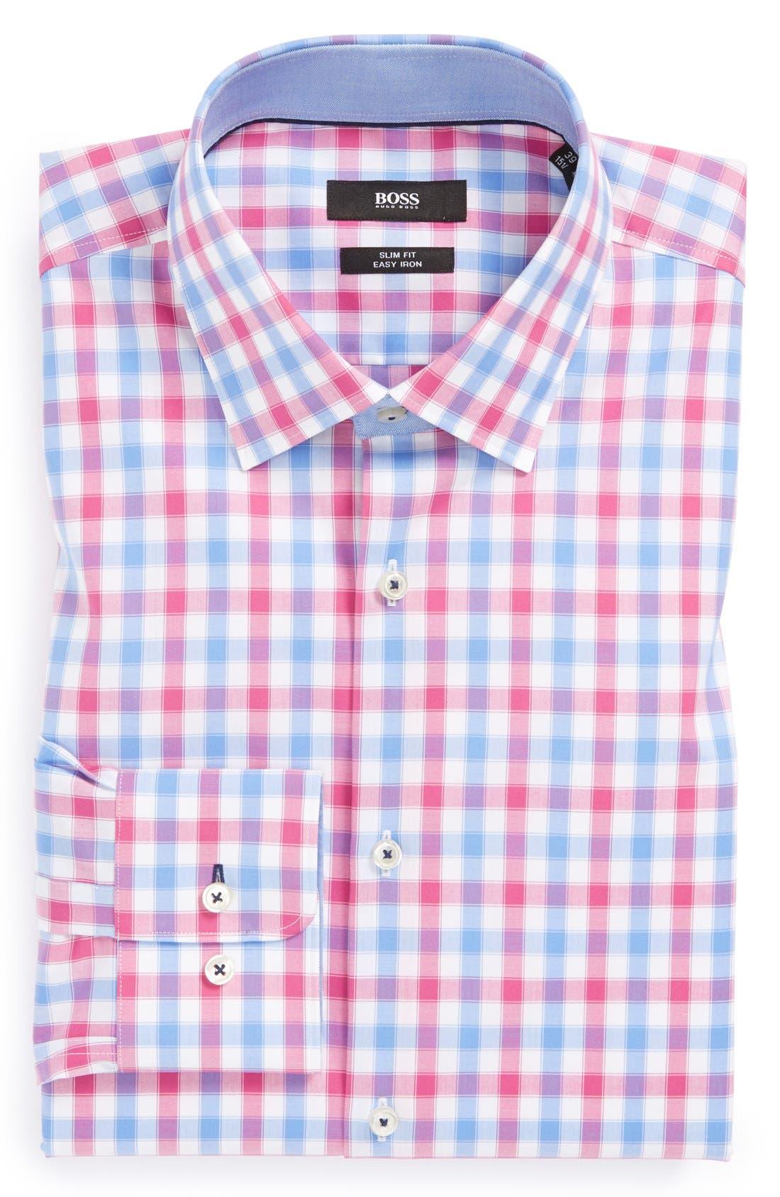 Main Image - BOSS HUGO BOSS 'Juri' WW Slim Fit Easy Iron Check Dress Shirt