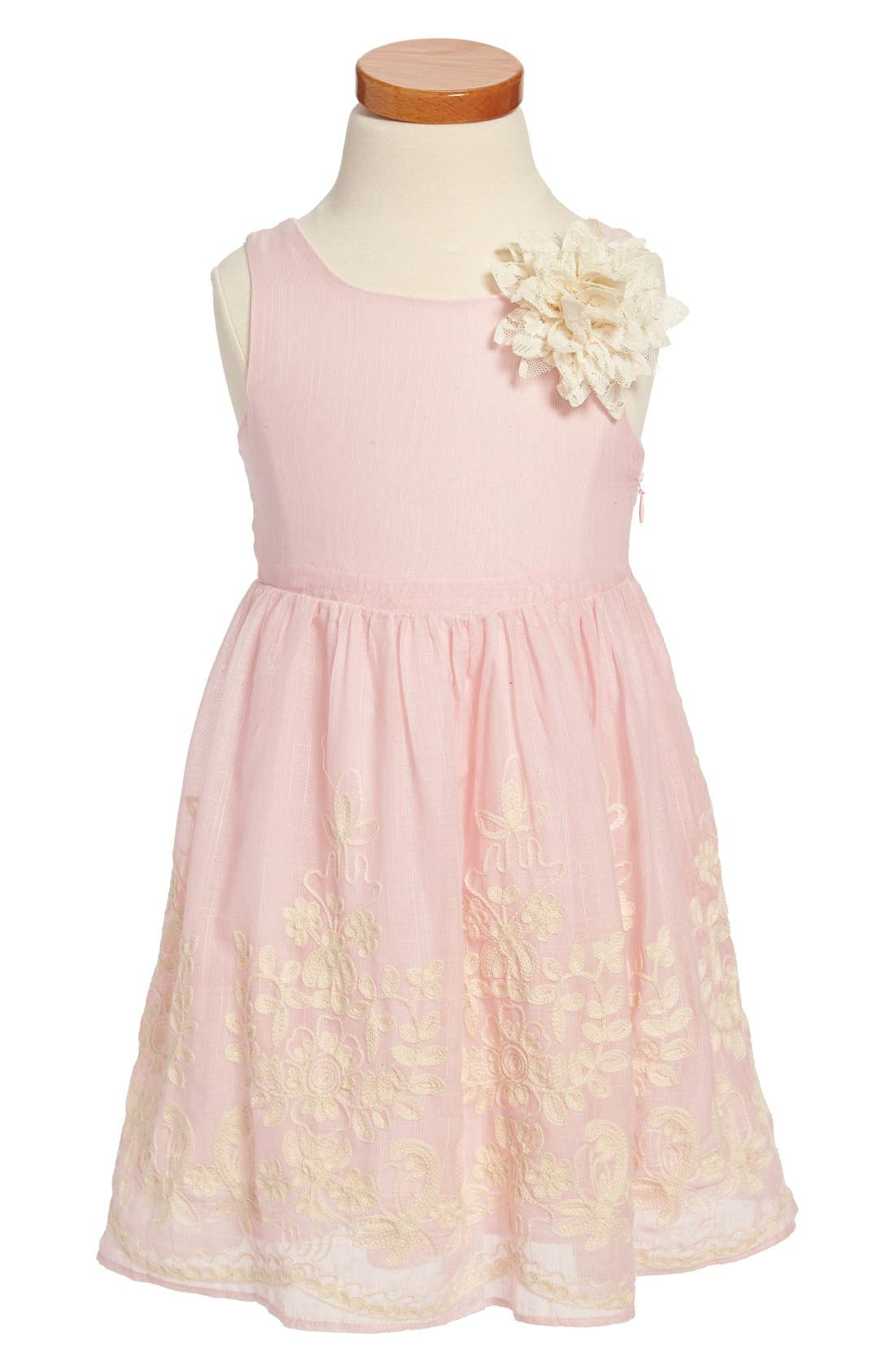 Main Image - Pippa & Julie Embroidered Cotton Voile Dress (Toddler Girls & Little Girls)