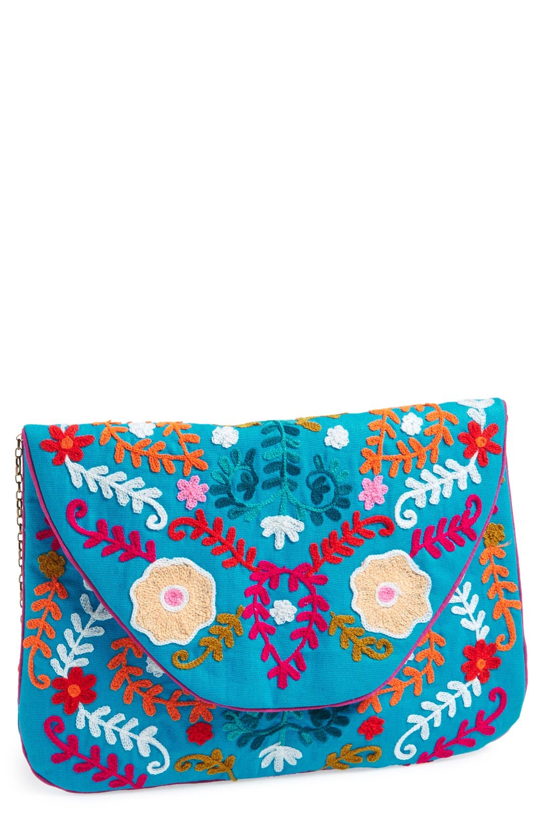 Main Image - Big Buddha 'Large' Oversized Embroidered Clutch