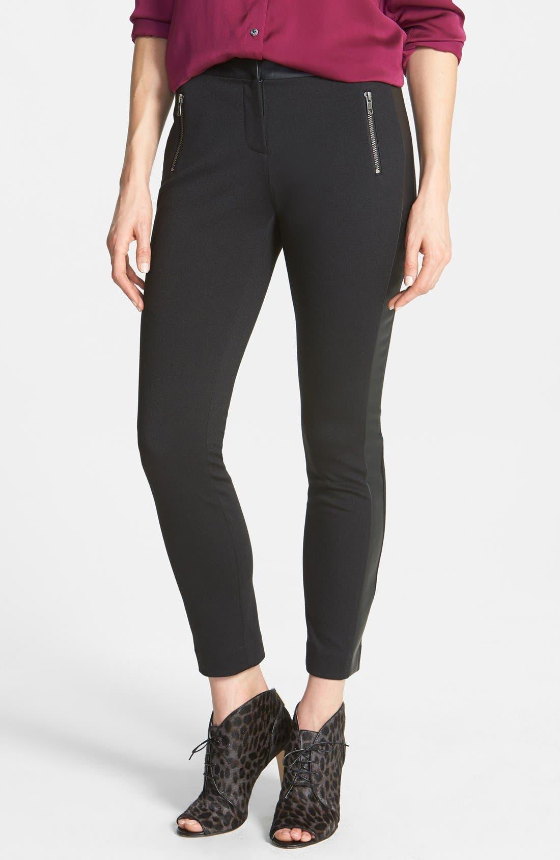 Alternate Image 3  - Halogen® Faux Leather Trim Skinny Ankle Pants (Regular & Petite)