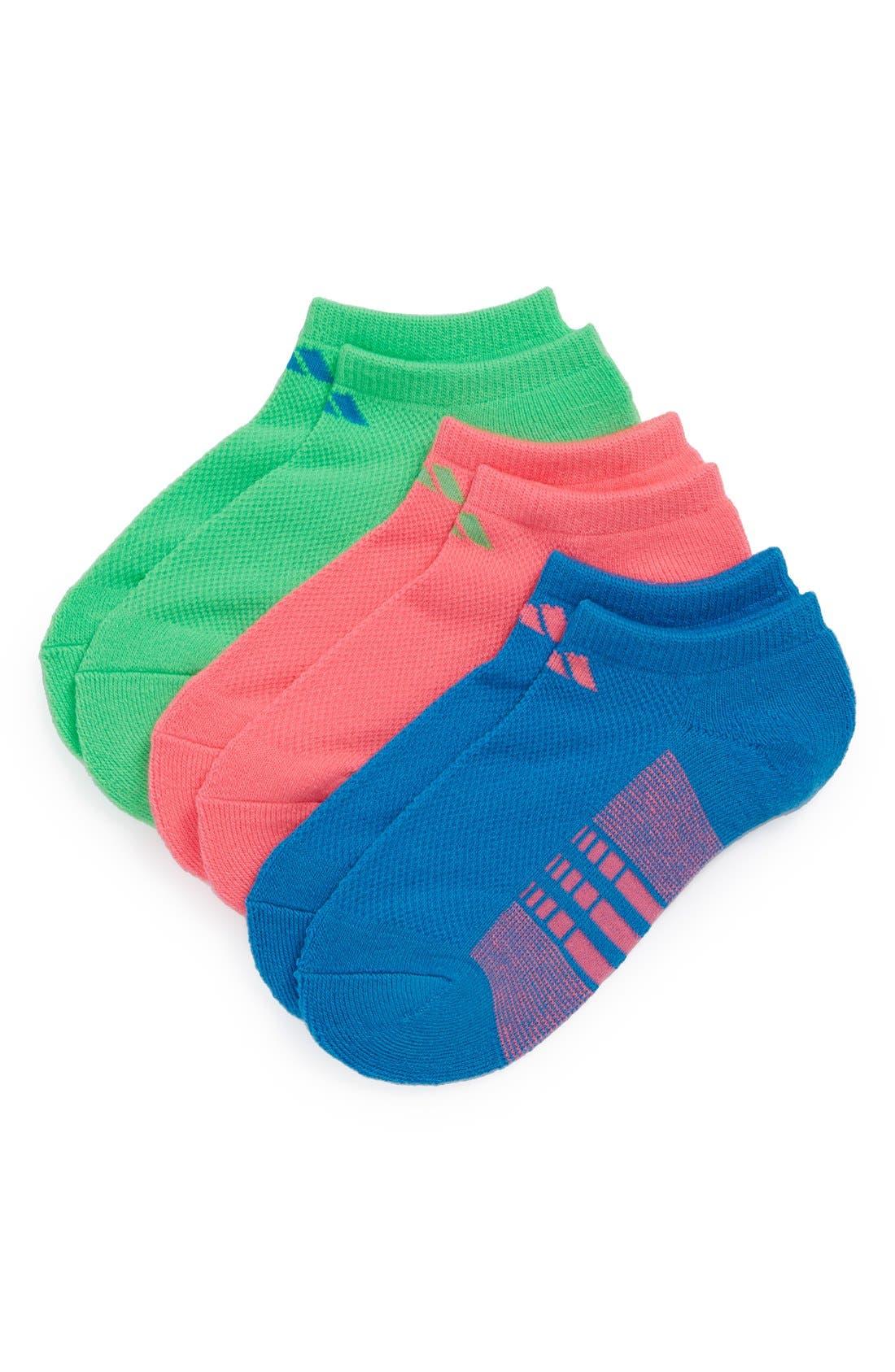 Main Image - adidas Cushioned No-Show Socks (3-Pack) (Little Kid & Big Kid)
