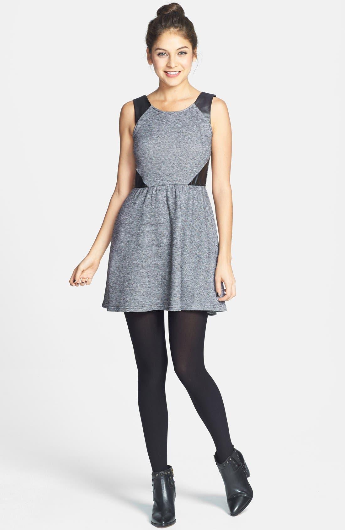 Alternate Image 3  - Socialite Faux Leather Insert Skater Dress (Juniors) (Online Only)