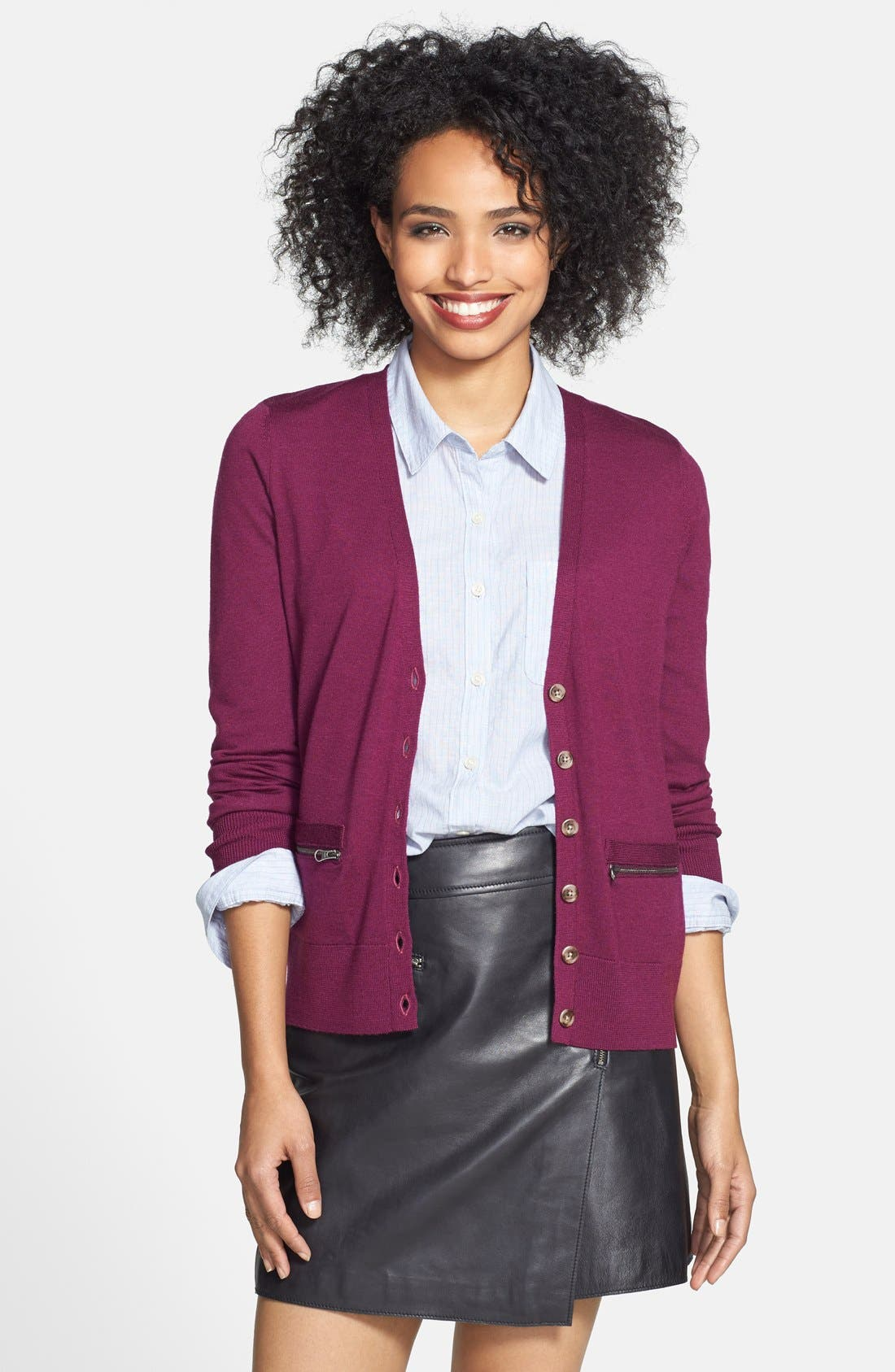Main Image - Halogen® Zip Pocket V-Neck Cardigan (Regular & Petite)
