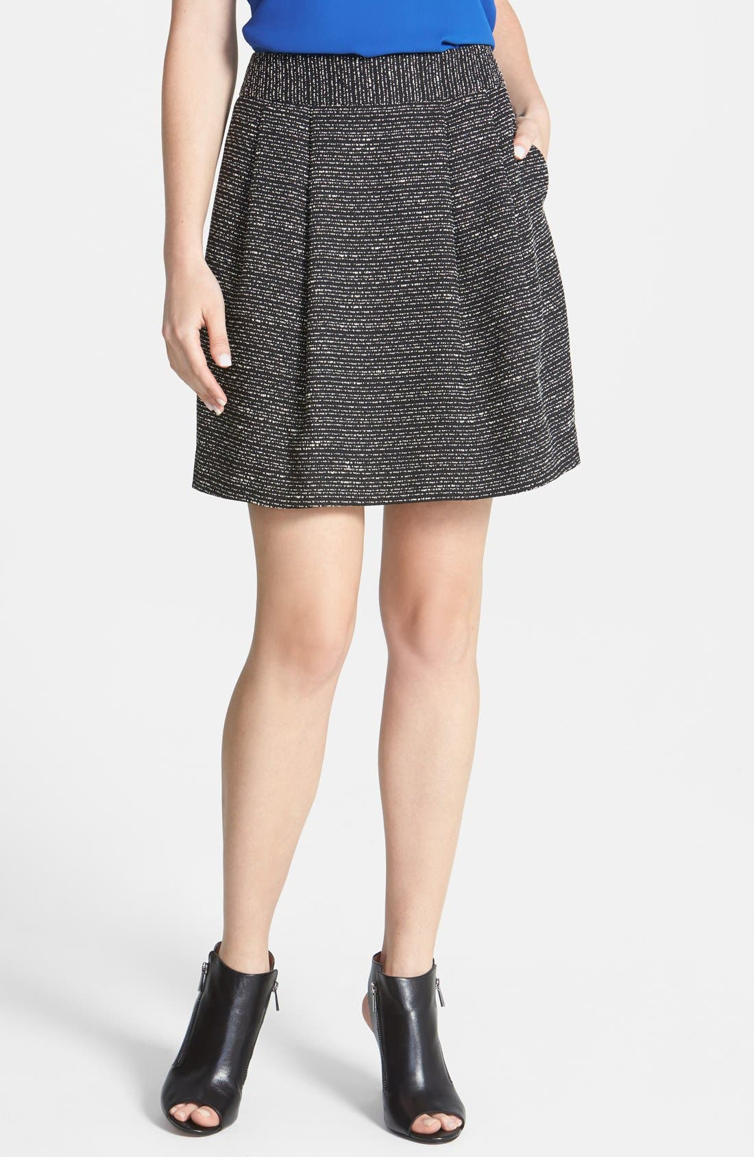 Main Image - Halogen® Pleat Tweed A-Line Skirt (Regular & Petite)
