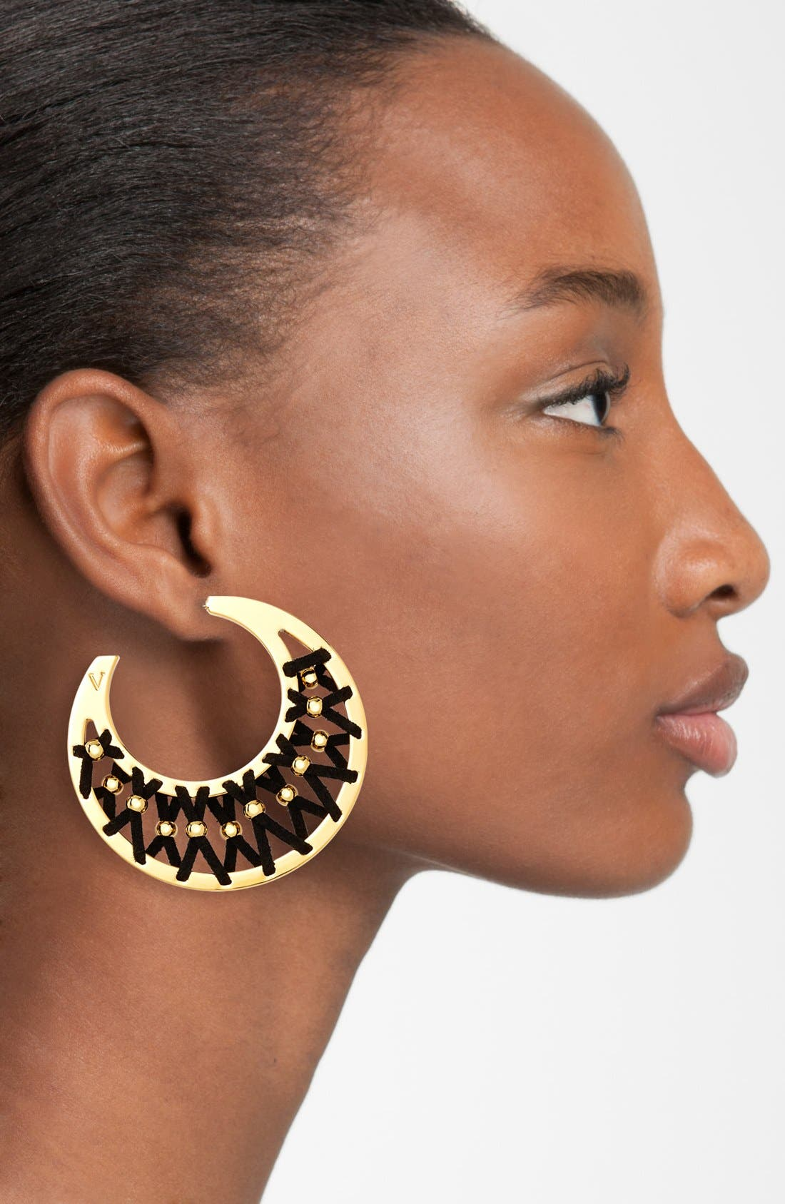 Alternate Image 2  - Vince Camuto 'Summer Warrior' Leather Laced Hoop Earrings