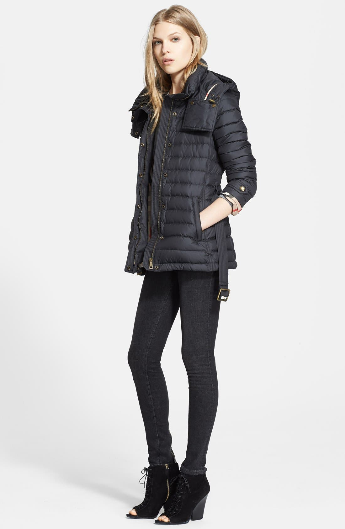 Alternate Image 4  - Burberry Brit 'Cornsdale' Channel Quilt Down Jacket with Hood