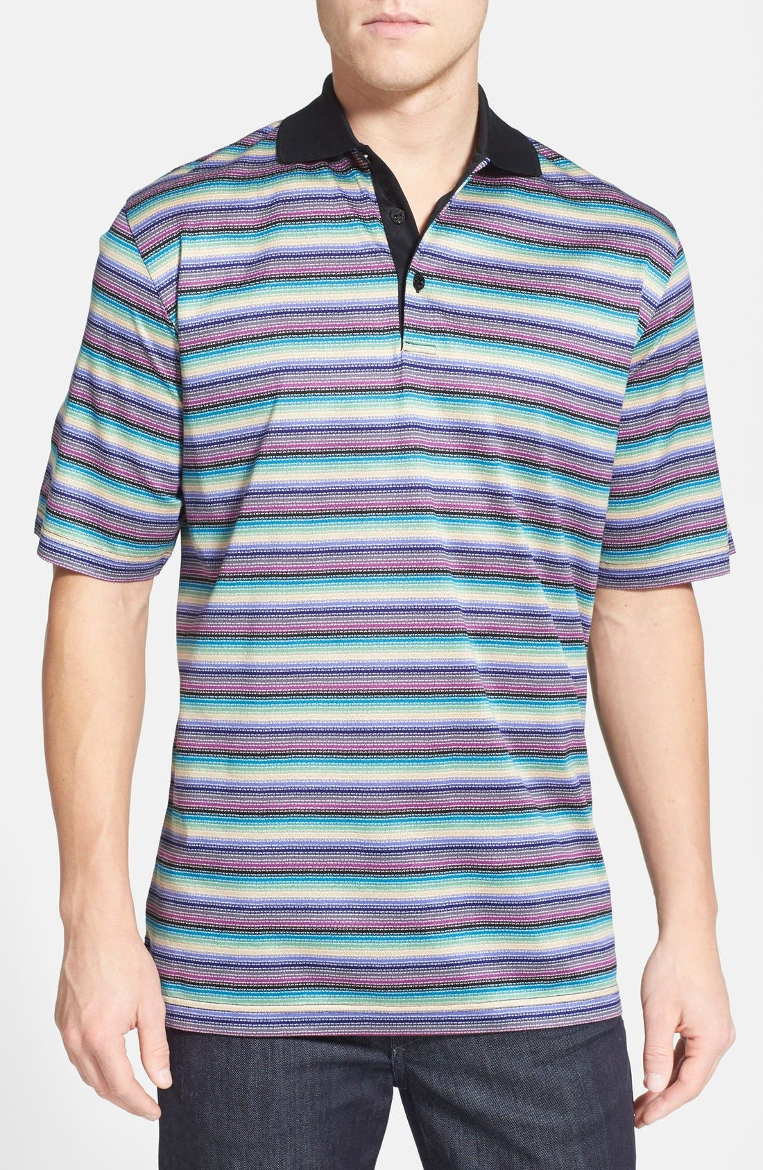 Main Image - Bugatchi Stripe Mercerized Cotton Polo