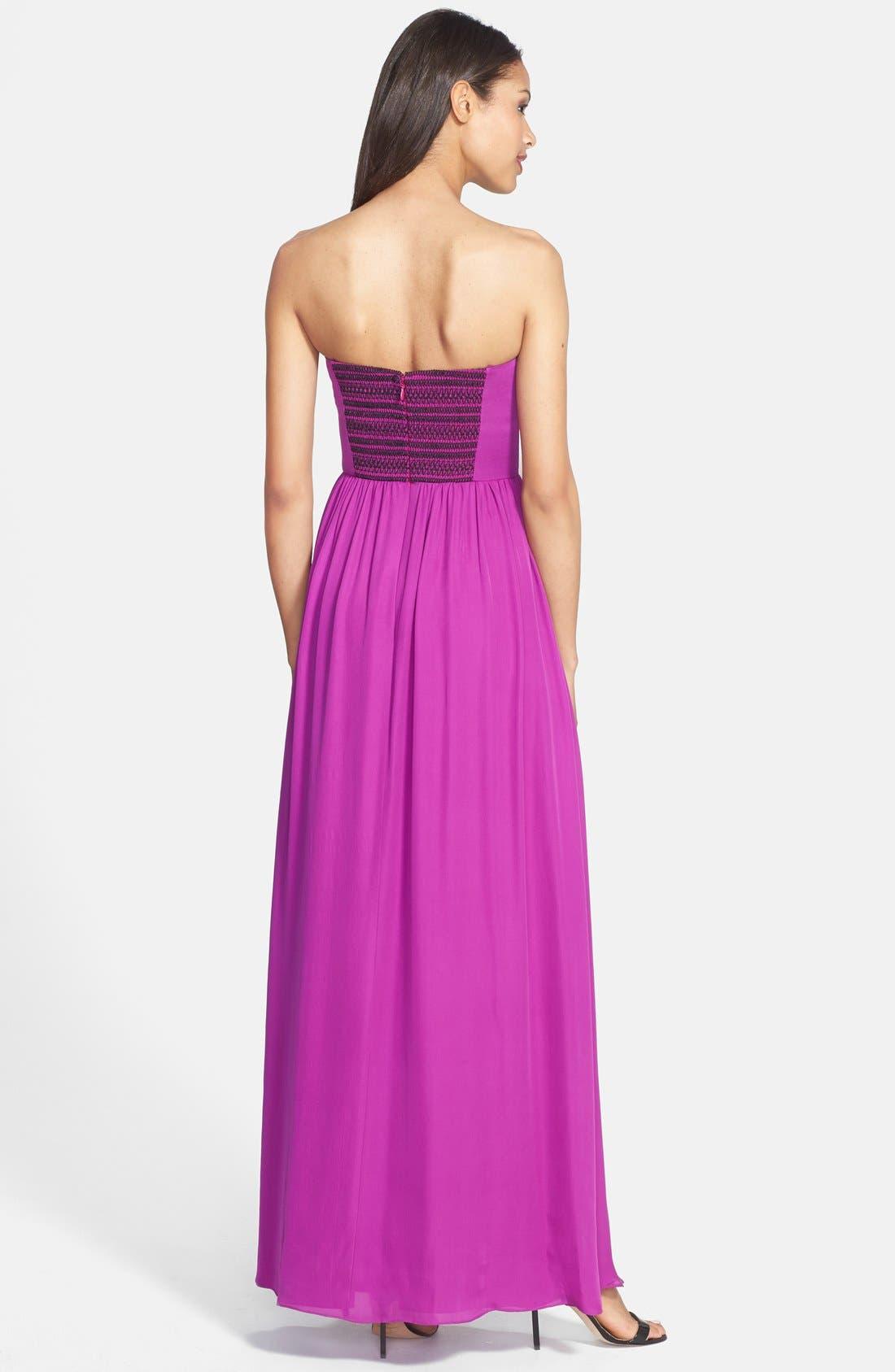 Alternate Image 2  - Nicole Miller Stitch Detail Silk Maxi Dress