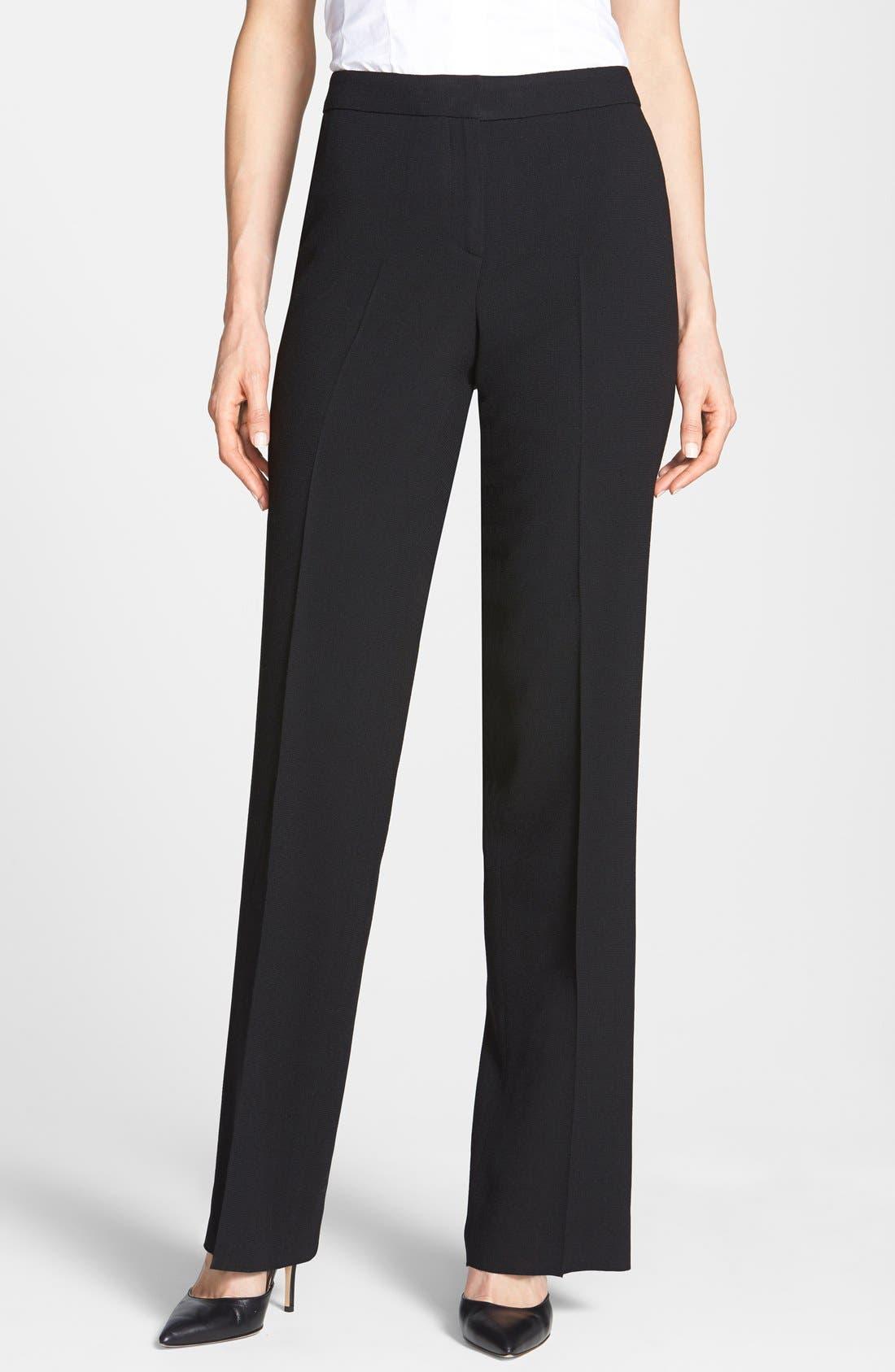 Main Image - Santorelli Wool Crepe Straight Leg Pants