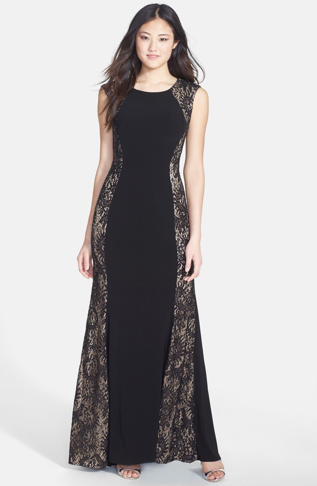 Main Image - Xscape Sequin Lace Panel Jersey A-Line Gown
