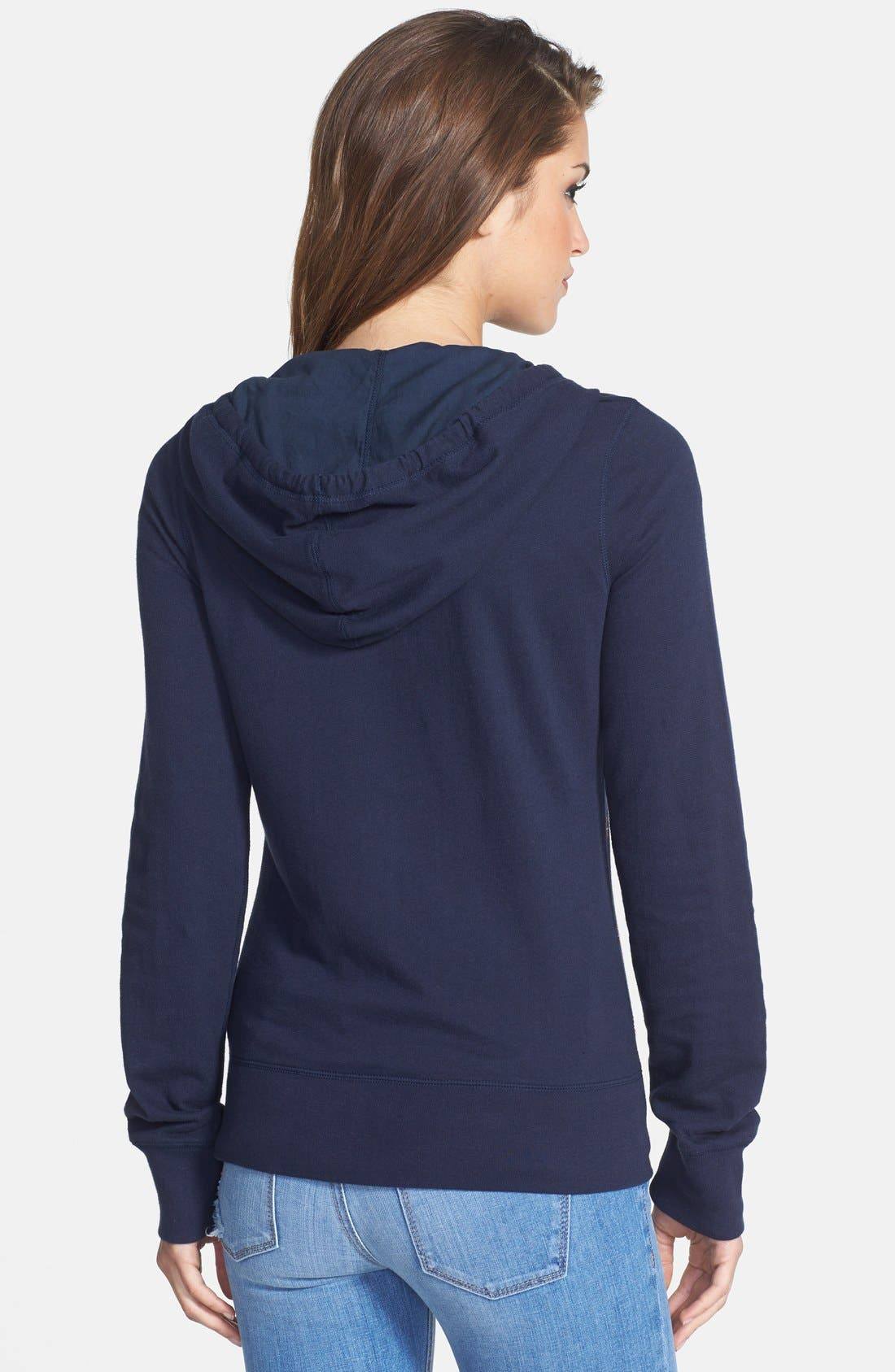 Alternate Image 2  - Lucky Brand Embroidered Zip Front Hoodie