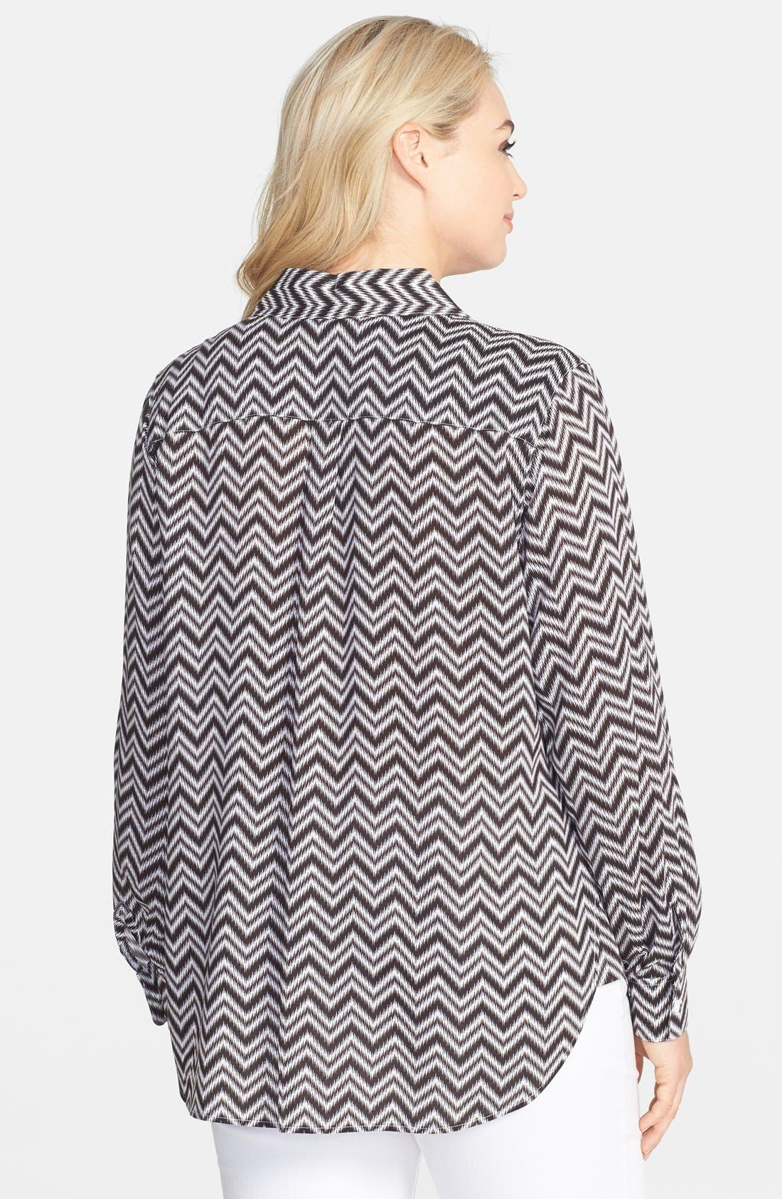 Alternate Image 2  - Foxcroft Chevron Stripe Shaped Shirt (Plus Size)
