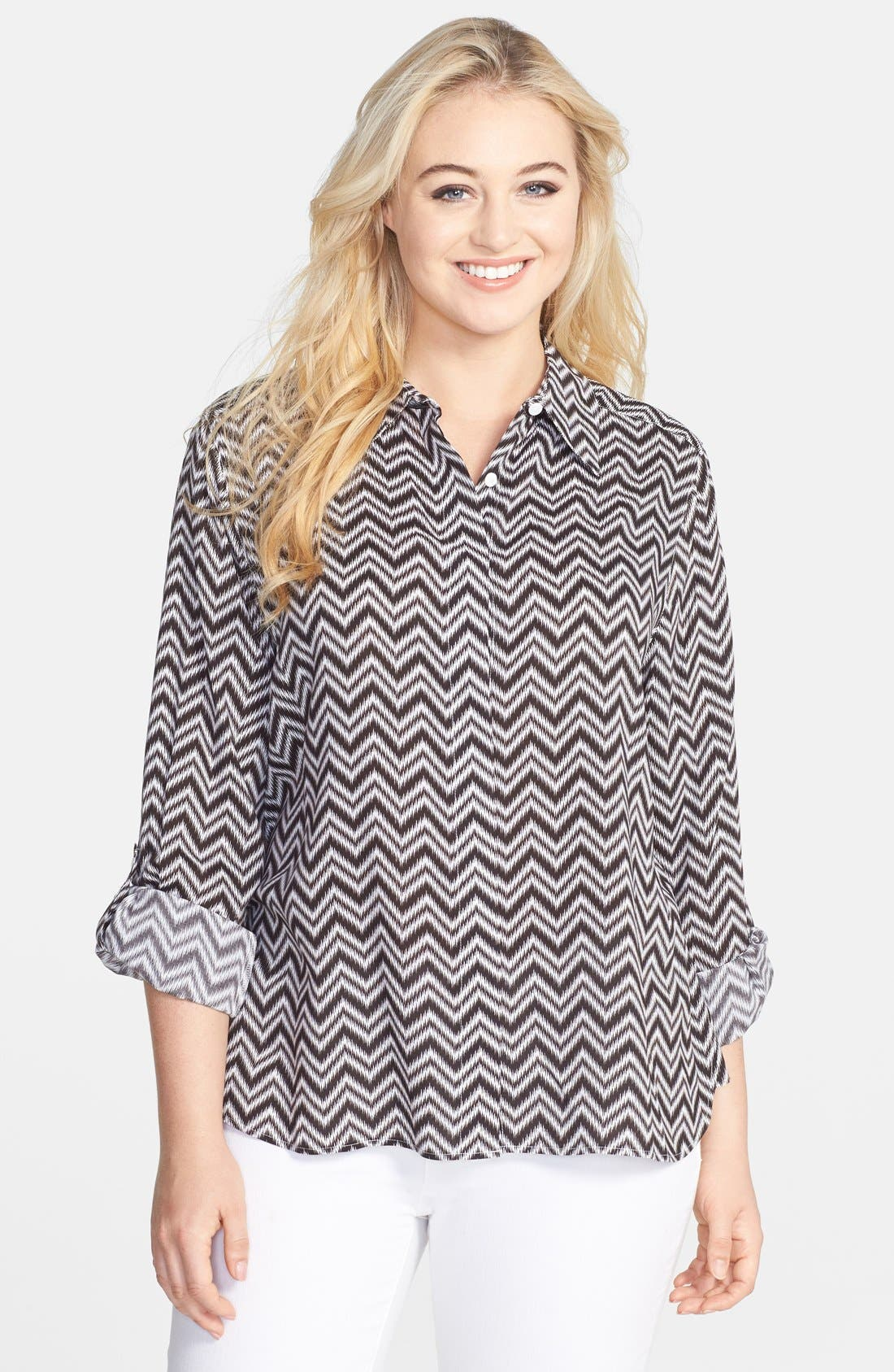 Alternate Image 1 Selected - Foxcroft Chevron Stripe Shaped Shirt (Plus Size)