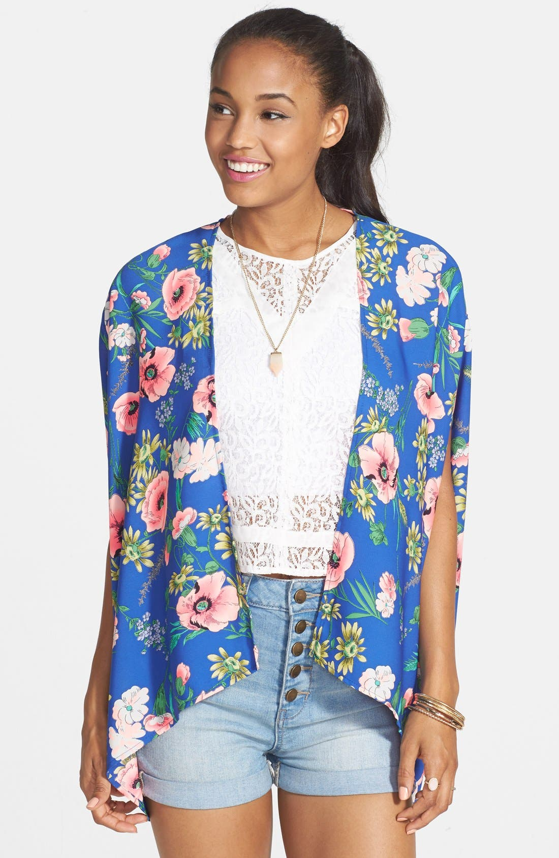 Alternate Image 1 Selected - Flying Tomato Floral Print Kimono Jacket (Juniors)