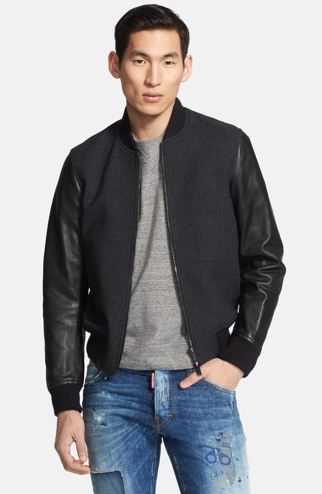 Main Image - Dsquared2 Virgin Wool Bomber Jacket with Leather Sleeves