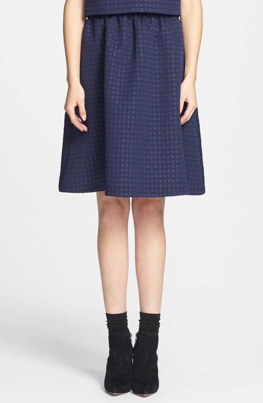 Main Image - Topshop Textured Full Midi Skirt (Nordstrom Exclusive)