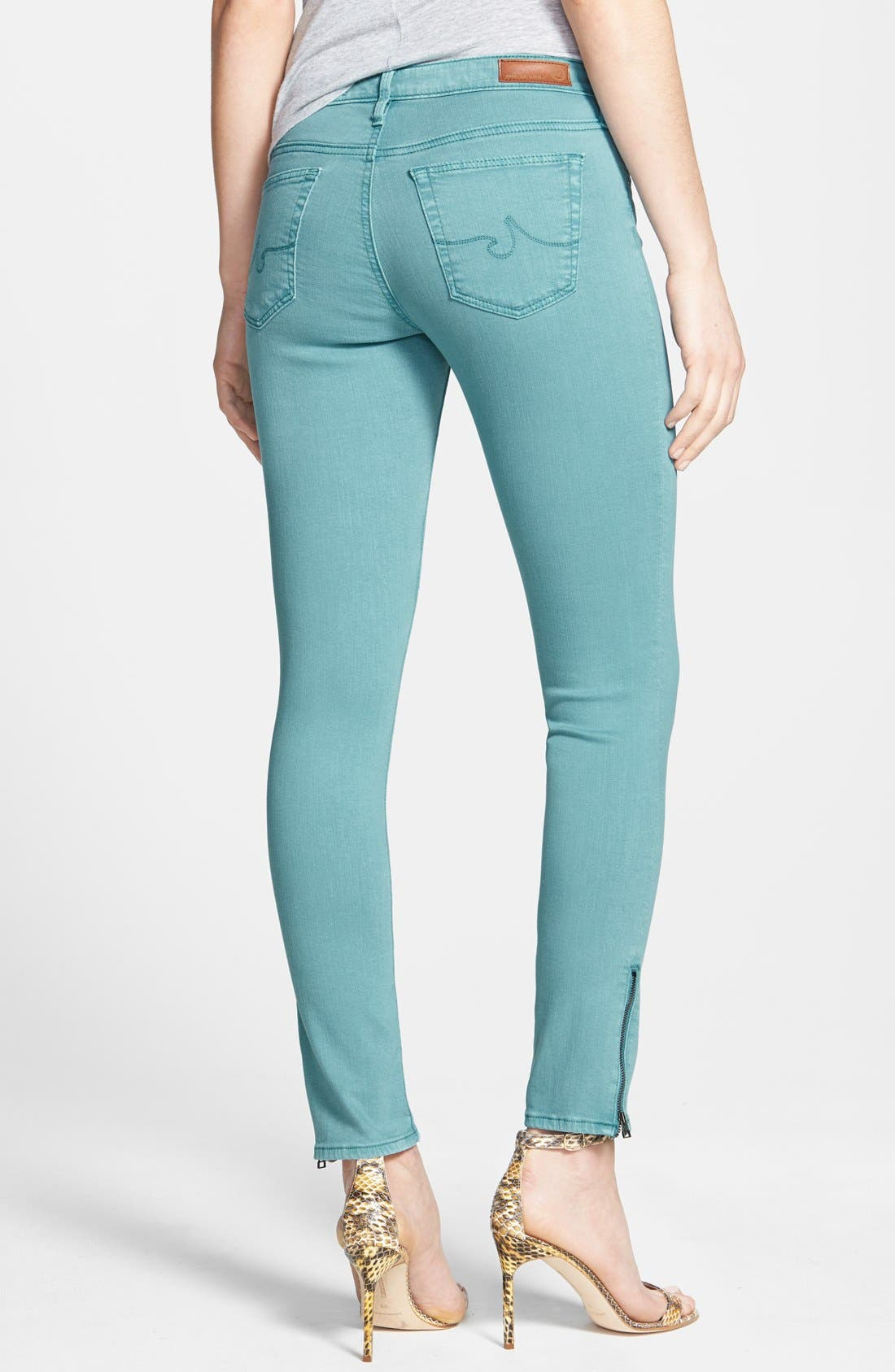 Alternate Image 2  - AG Zip Cuff Ankle Skinny Jeans