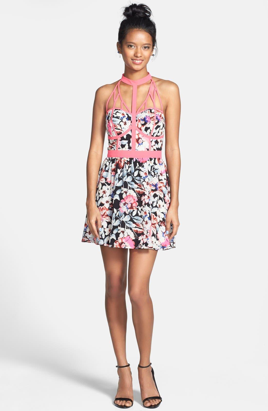 Alternate Image 1 Selected - En Crème Neon Trim Floral Print Skater Dress (Juniors)