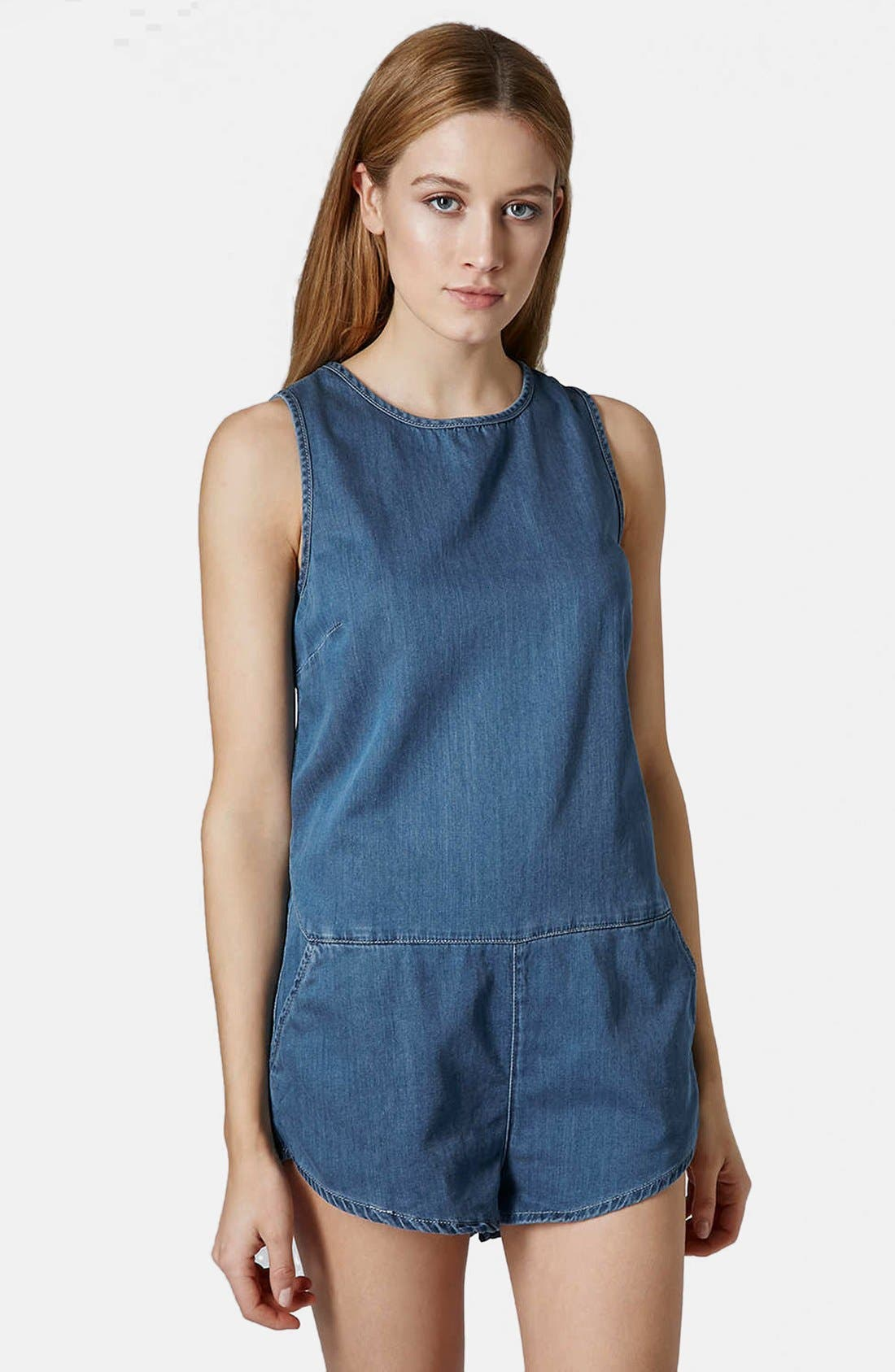 Alternate Image 1 Selected - Topshop Chambray Romper