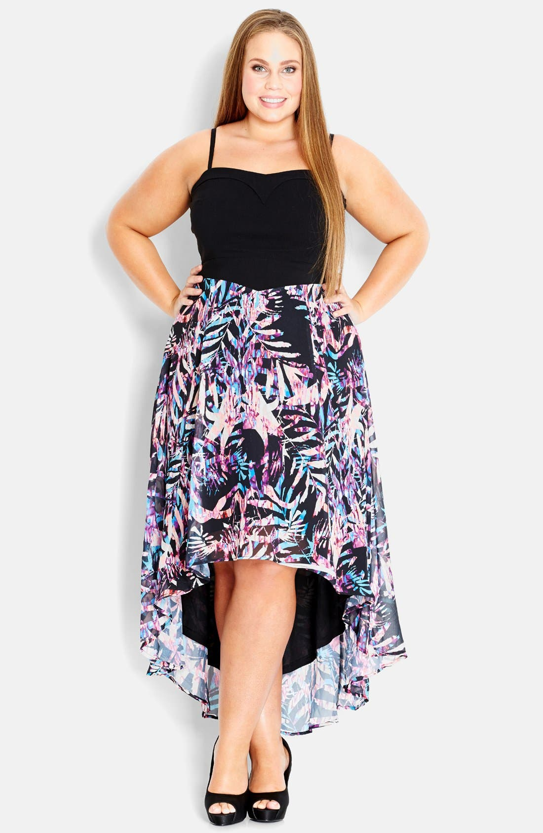 Alternate Image 1 Selected - City Chic Jungle Print High/Low Maxi Dress (Plus Size)