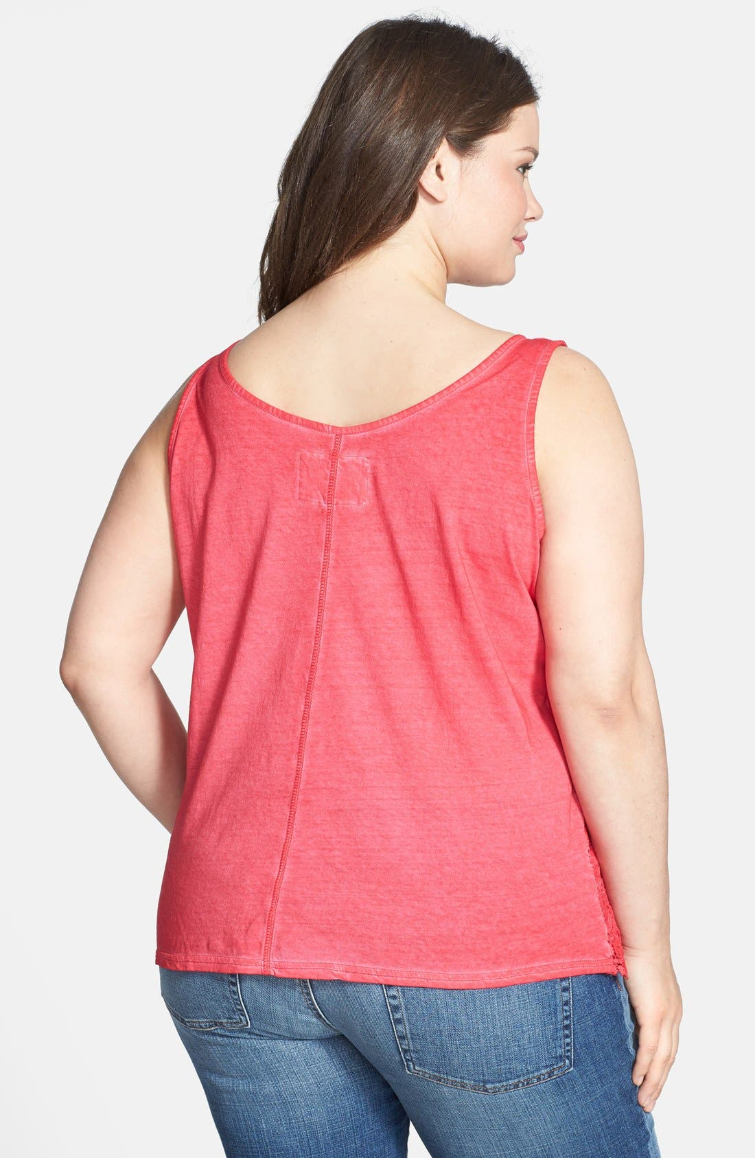 Alternate Image 2  - DKNY Jeans Lace Front Cotton Tank (Plus Size)