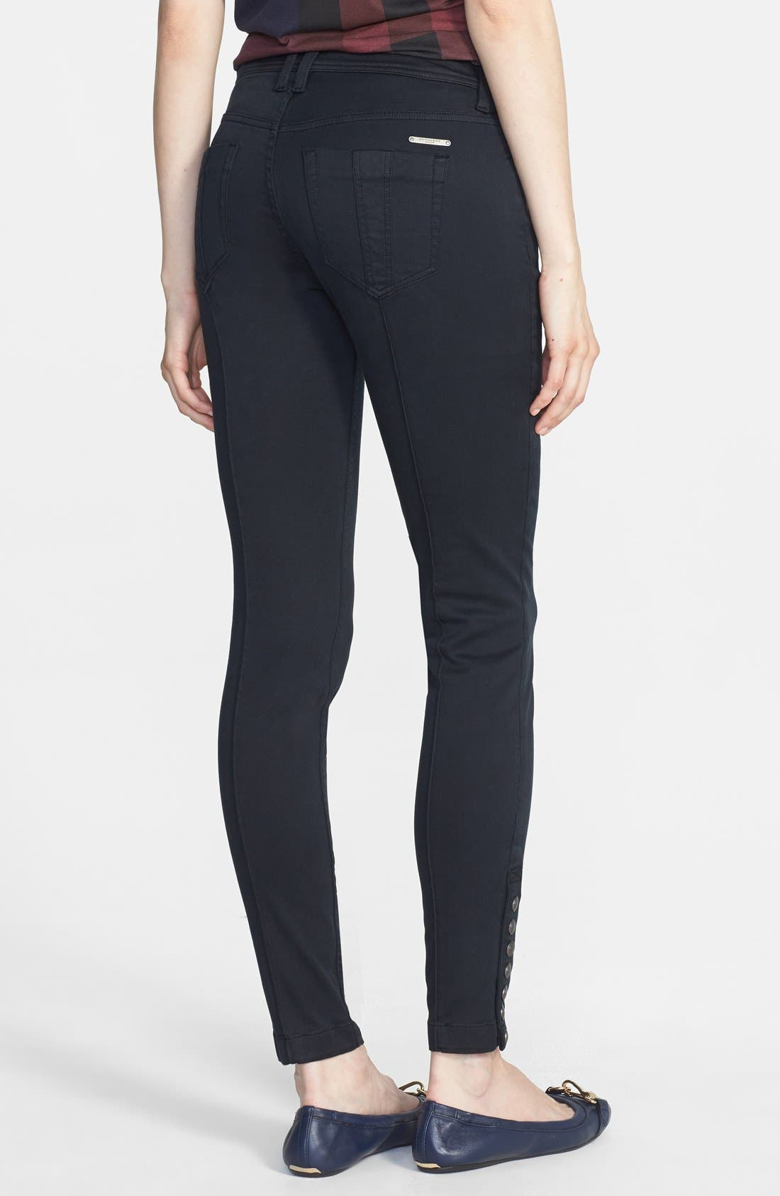 Alternate Image 2  - Burberry Brit 'Kemberton' Snap Ankle Stretch Cotton Skinny Pants