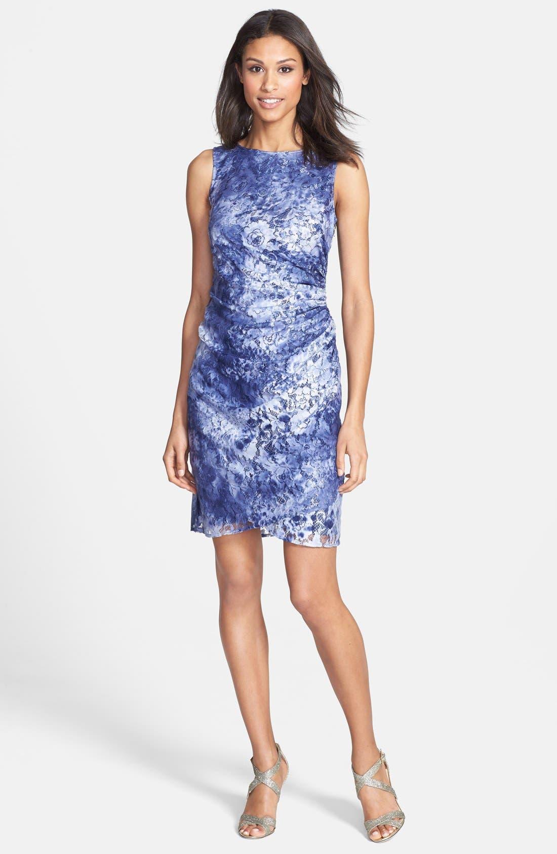 Alternate Image 3  - Adrianna Papell Tie Dye Lace Sheath Dress (Regular & Petite)