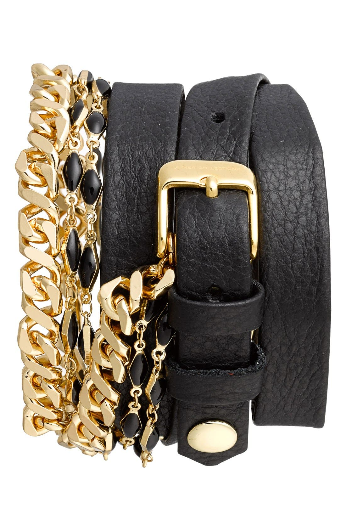 Alternate Image 2  - La Mer Collections 'Black Magic' Leather Wrap Watch, 30mm x 7mm