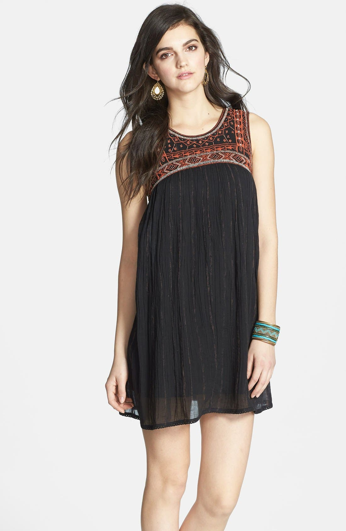 Alternate Image 1 Selected - Free People Embroidered Bib Cotton Shift Dress