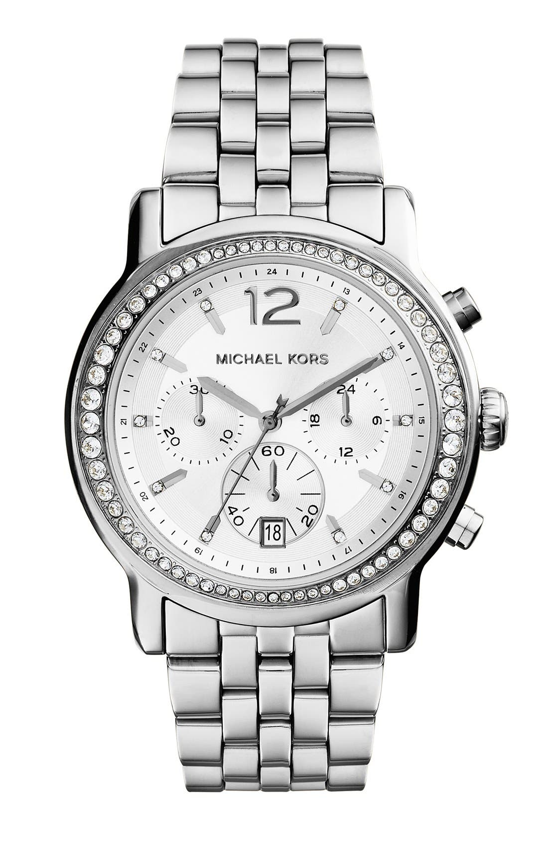 Alternate Image 1 Selected - Michael Kors 'Baisley' Crystal Bezel Chronograph Bracelet Watch, 41mm (Nordstrom Exclusive)