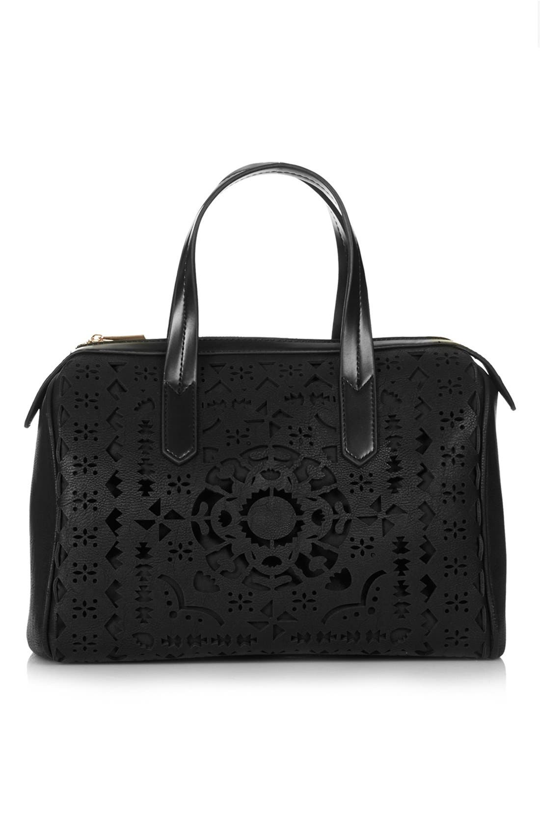 Main Image - Topshop Lasercut Faux Leather Tote