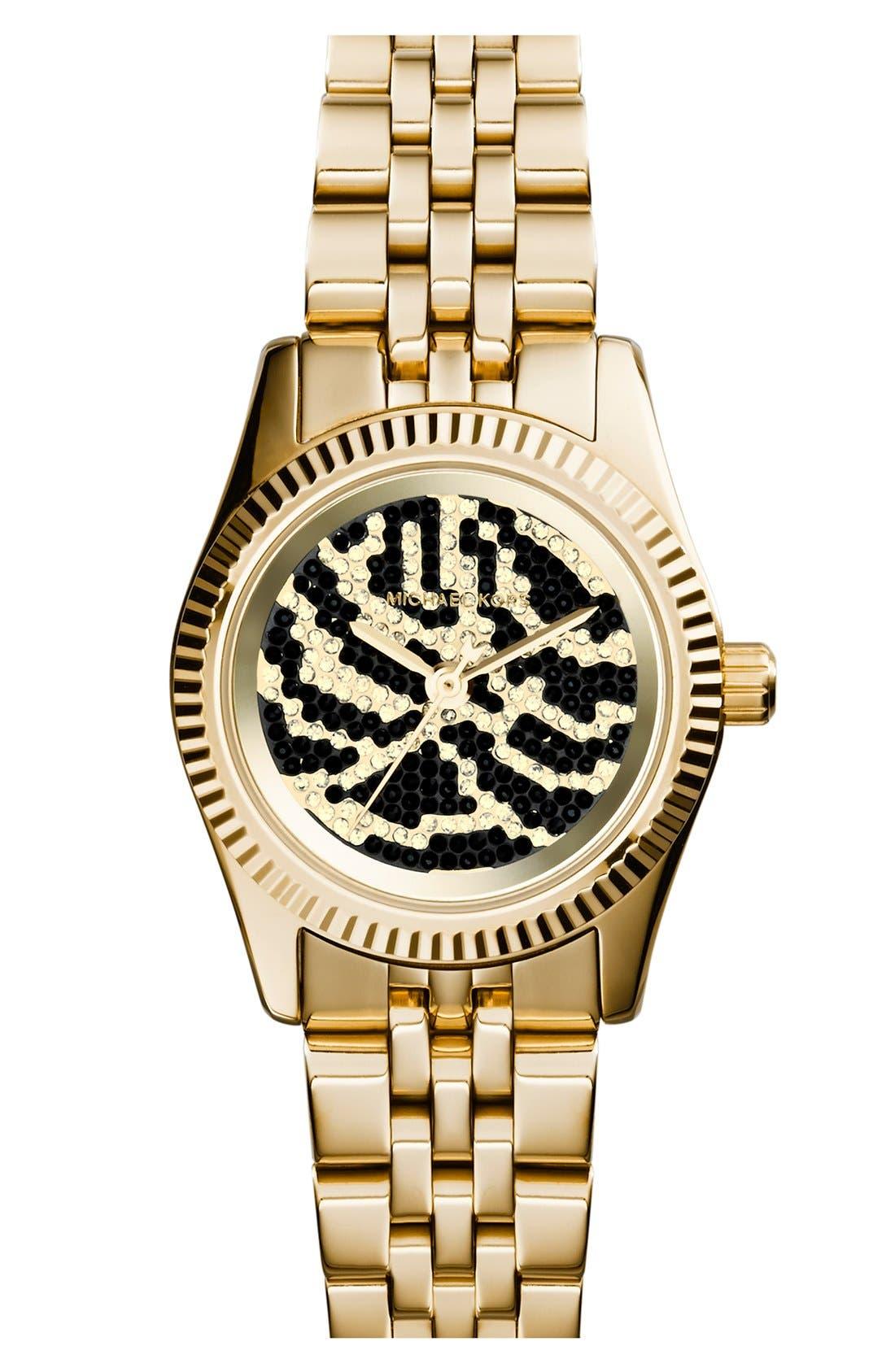 Alternate Image 1 Selected - Michael Kors 'Petite Lexington' Pavé Dial Bracelet Watch, 26mm
