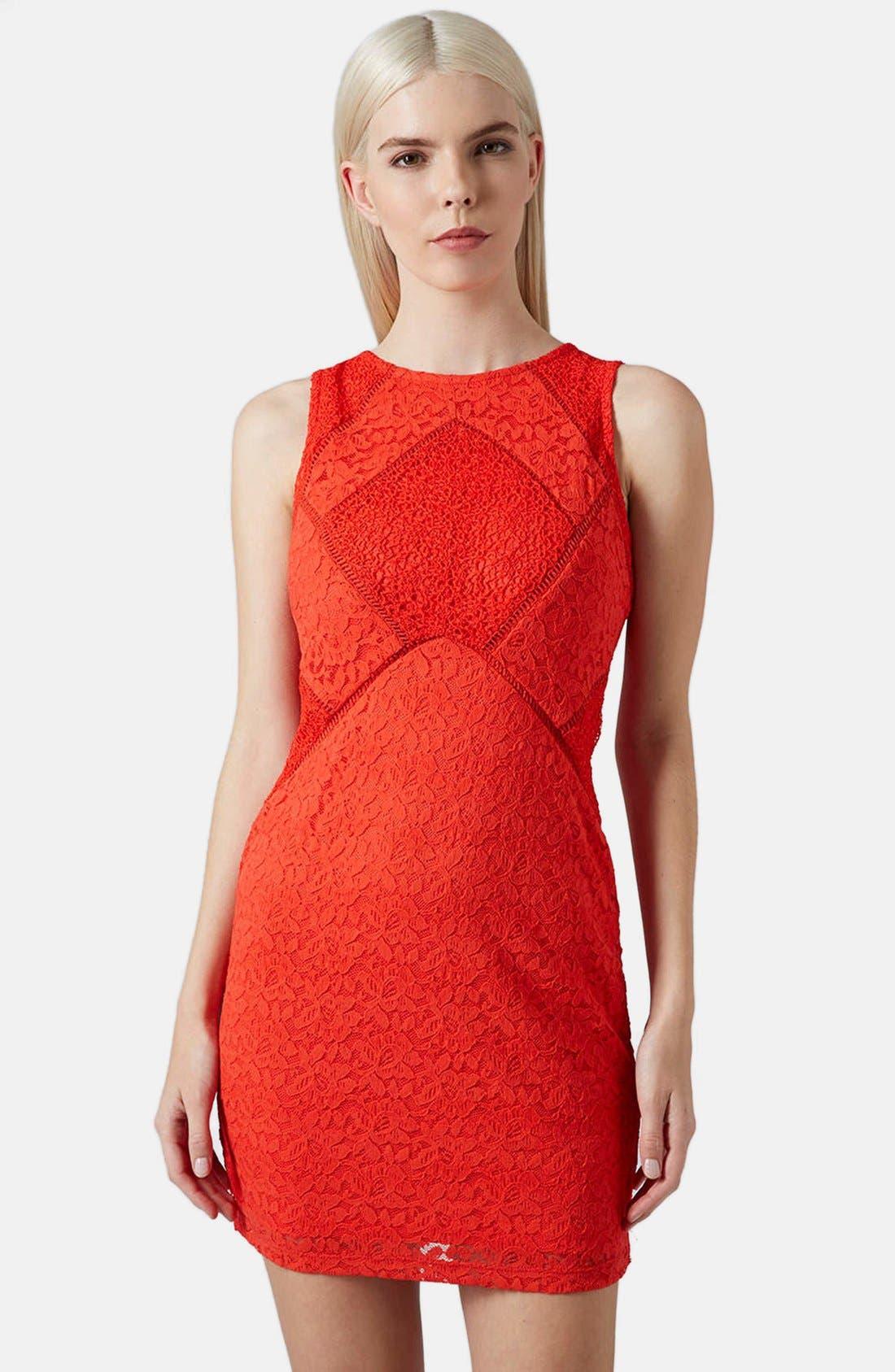 Main Image - Topshop Mixed Lace Body-Con Dress