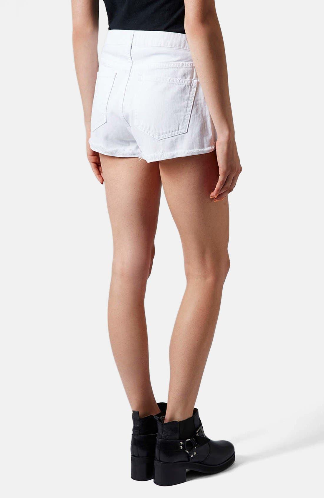 Alternate Image 2  - Topshop Moto 'Hallie' High Rise Denim Shorts (White)